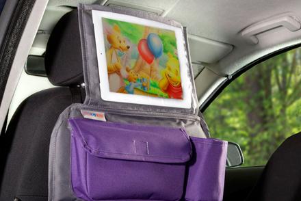 Organizer Podrożnika Do Samochodu I Uchwyt Na Tablet 2 W 1 Szary Z Fioletowym